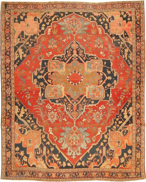 "Extremely Fine Room Size Antique Persian Heriz Serapi Rug 2570, Size: 9'9"" x 11'11"", Country of Origin: Persia, Circa date: 1900 - The fine weave and the delicate, almost classical curve-linear drawing  ..."