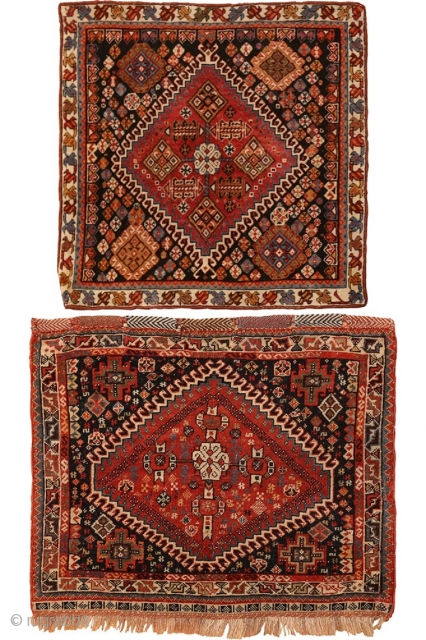 TWO ANTIQUE PERSIAN GASHGAI BAGS, 1 FT 9 IN X 1 FT 9 IN & 1 FT 10 IN X 2 FT 3 IN. These will be part of our Oct 15th  ...