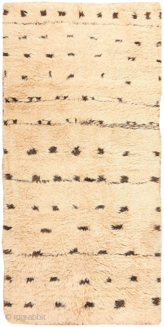 Moroccan Rug, Morocco, Mid-Century - This marvelous mid-century Moroccan rug is aglow with luxury. The sumptuous ground is built from deep, fleecy shearling pile that displays tousled color variations ranging from warm  ...