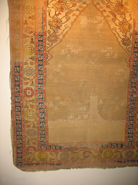 Turkish prayer possibly 18th century. $1100 CHEAP. Large areas of old restoration.From the May estate ( the May Company ). Friends of the Ballards in the 1920's.