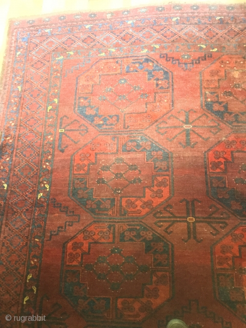 Beautiful early 20th century Ersari Turkman wool main carpet, 10ft x 8ft6, in very good condition, pile worn in places, a few small old repairs, fringes present, no tears or wrinkles, lovely  ...