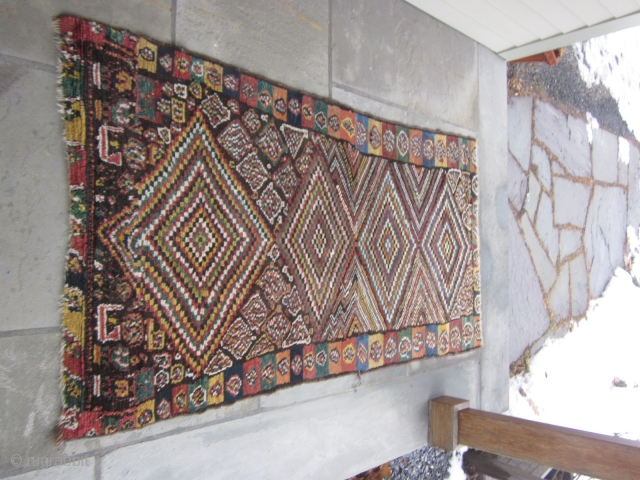 Persian gabbeh, ?Luri,  about 4 by 7 ft, with reduced ends