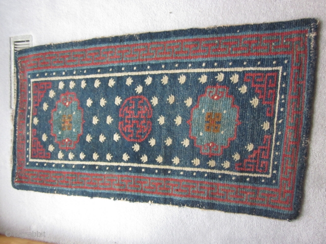 Tibetan khaden, abt 3 by 5 ft, all natural dyes, well-drawn, pre-1900