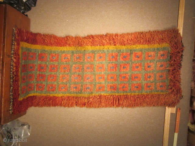 Tibetan: Wangden for temple use, warp-face back construction, 28 by 76 inches, before 1900 POR