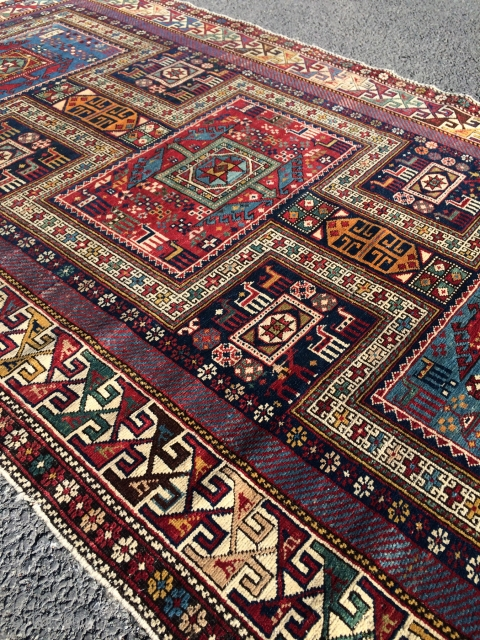"""Lovely Shrivan Bijo rug. Outstanding condition. Great solid vegetable dyes and good pile. Dated 1915 (1333 AH = 1915) Size: 110""""x 49"""" All . Slight black corrosion. More photos on request."""