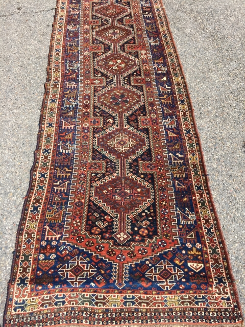"Beautiful Khamseh runner 39.5"" x 117"". Solid natural colors. Great pile. Not repairs. Clean."