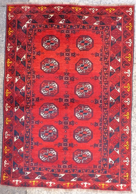 A rug woven in the North of Afghanistan by ethnic uzbeks, with soft and shinny wool. The yellow colour touches add a nice touch to this rug. 174x122 cms 1900s. (A1710039).  Please  ...
