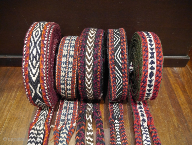 Mid 20th century Bakhtiari nomads horse bands for tying loads to the small pack horses during migrations. All in excellent original condition, up to 8m long.