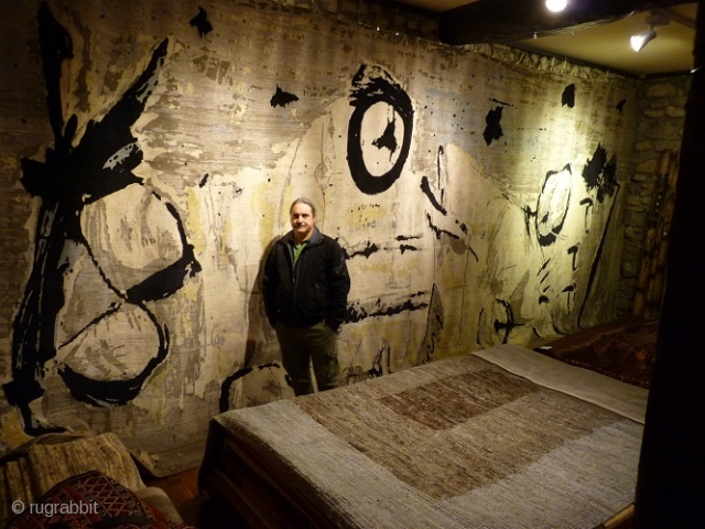 """Gernika"" by Koldobika Jauregi (in the photograph). To commemorate the 75th aniversary of the Gernika bombing we commisioned the famous Basque sculptor to design a carpet. Our only request was that it  ..."
