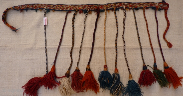 Qashqai horse neck band, 115x4cms, natural colours, complete original condition with authentic horsey smell.