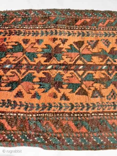 """Afghanistan Timuri Belouch """"balisht"""" bag face, full finely woven pile, soft natural dyes (green, brown, white, peach, terracotta, burgandy), intact kilim ends, excellent overall original condition, 82x50cm."""