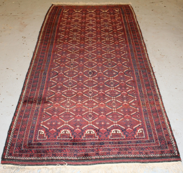 Beautiful and good quality  Beluch rug with nice colouring and soft wool (circa 1910-1920) corner of one side flaweave is repaired. size 250x110