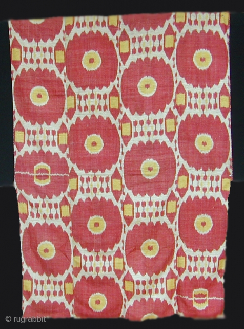 "Ikat panel cod. 0110. One of the items posted on my new website www.nonplusultra.cloud. Silk on cotton. Uzbekistan. Late 19th. century. Very good condition. Dimension cm. 130 x 188 (51"" x 74"")."
