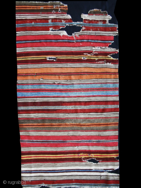 """Striped kilim fragment cod. 0675.  Wool, traditional dyes. West Anatolia. Early 19th. century. Dimension cm. 75 x 150 (30"""" x 59""""). Good condition. Professionally lined with a black cotton textile."""