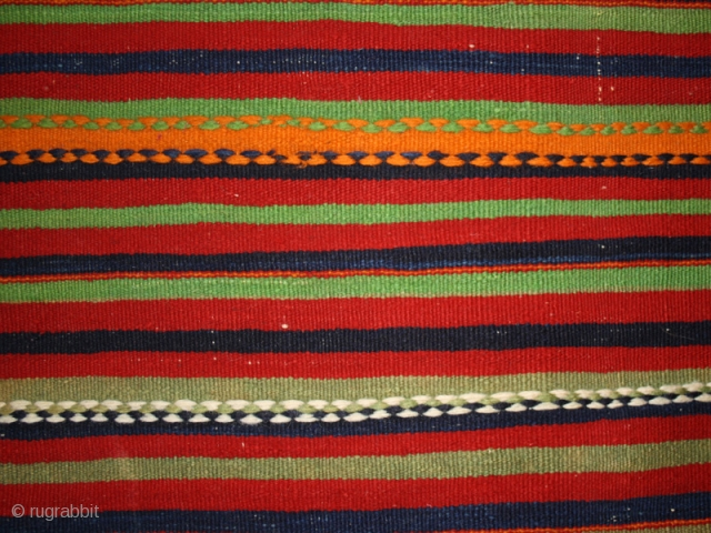 "Flatwoven cover with polychrome stripes cod. 0383. Wool. Berber people. Morocco. Mid. 20th. century. Very good condition. Cm. 150 x 243 (59"" x 96"")."
