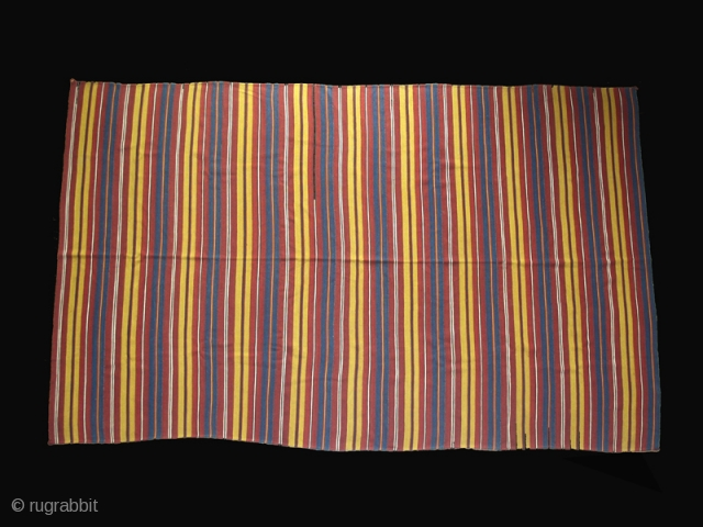 """Kilim cod. 0497.One of the items posted on my new website www.nonplusultra.cloud. Wool, natural dyes. Uzbekistan.Late 19th. century. Perfect condition. Cm. 177 x 399 (5'10"""" x 13'1""""). Eleven transverse stripes sewn together.  ..."""