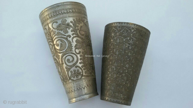 From punjab region of Pakistan,traditional antique brass Glasses.The were used  for serving the guests with a special punjabi drink called lassi in it. Complete handcrafted