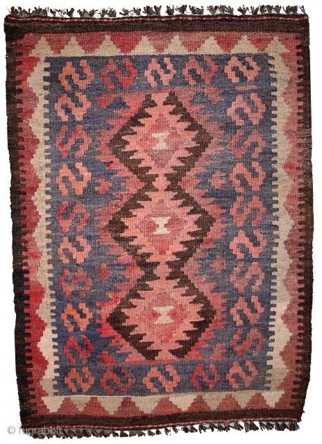 #1B451  Hand made vintage Afghan Kilim 1.7' x 2.5' ( 54cm x 76cm ) C.1960
