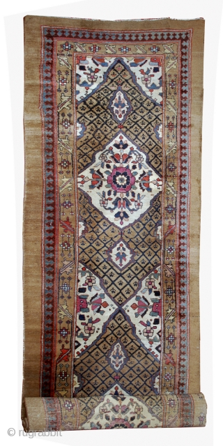 #1B556  Hand made antique Persian Camel hair runner 4' x 15.2' ( 122cm x 463cm ) C.1880