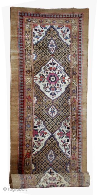 #1B556  Hand made antique Persian Camel hair runner 4' x 15.2' ( 122cm x 463cm ) C.1880