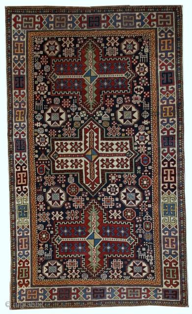 #1B560  Hand made antique Caucasian Akstafa rug 3.6' x 5.6' ( 110cm x 170cm ) 1890.C