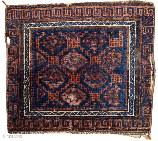 Handmade antique collectible Afghan Baluch bag face 1.7' x 2' ( 54cm x 62cm ) 1900s - 1C360