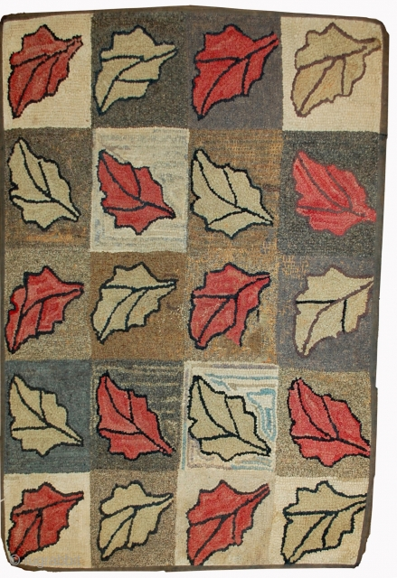 #1B500 Hand made antique American hooked rug 2.2' x 3.4' ( 67cm x 103cm ) 1900.C