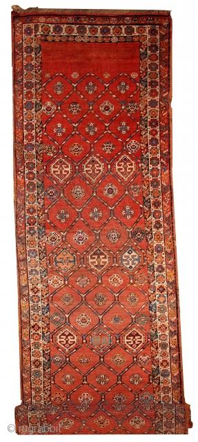 Handmade antique Persian Kurdish runner 3.2' x 12.2' ( 97cm x 371cm ) 1900 - 1B444