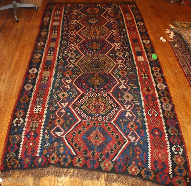 #1B71 Turkish kilim rug 5.1' x 10.5' 1890, some synthetic colors.
