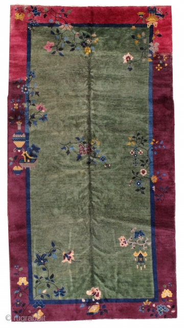 Handmade antique art deco Chinese rug 6.2' x 11.7' ( 189cm x 356cm) 1930s - 1B466