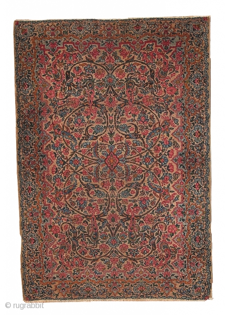 #1B158  Hand made antique Persian Kerman rug 3.2' x 4.9' ( 97cm x 149cm ) 1930.C