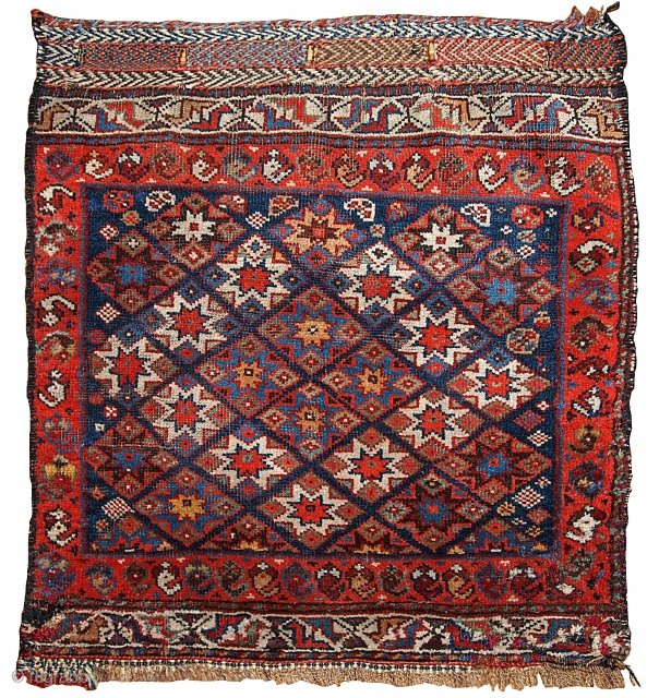 #1B316  Hand made antique collectible Persian Khamseh bag face 1.10' x 2' ( 57cm x 61cm ) C.1880