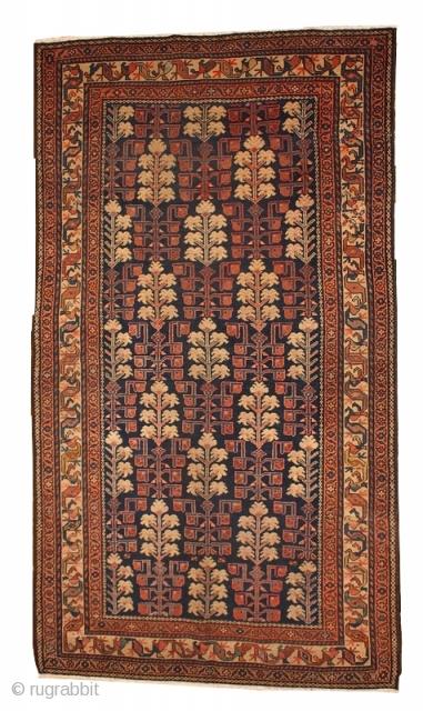 #1B416  Hand made antique Persian Kurdish rug 2.10' x 5.10' ( 89cm x 181cm ) C.1880