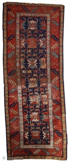 #1C380  Hand made antique Caucasian Karabagh rug 3.2' x 8.4' ( 98cm x 258cm ) C.1880