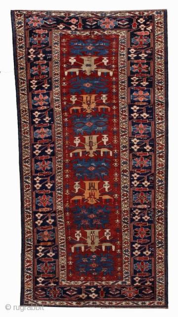 Handmade antique Caucasian Azerbaijani Shirvan rug 4.4' x 8.9' ( 134cm x 271cm ) 1910 - 1B491