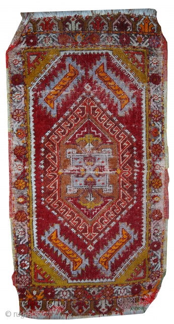 #1C371  Hand made Turkish Yastik rug 1.4' x 2.8' ( 44cm x 86cm ) C.1920