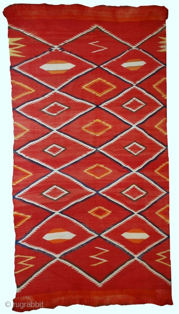 #1B557  Hand made antique collectible Native American navajo blanket 4.7' x 7.7' ( 143cm x 234cm)