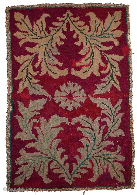 #1C123  Hand made antique American hooked rug 2.1' x 3.2' ( 64cm x 97cm ) C.1900