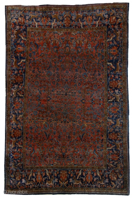 #1B528  Hand made antique Persian Kashan rug 4.1' x 6.5' ( 125cm x 198cm ) 1900.C