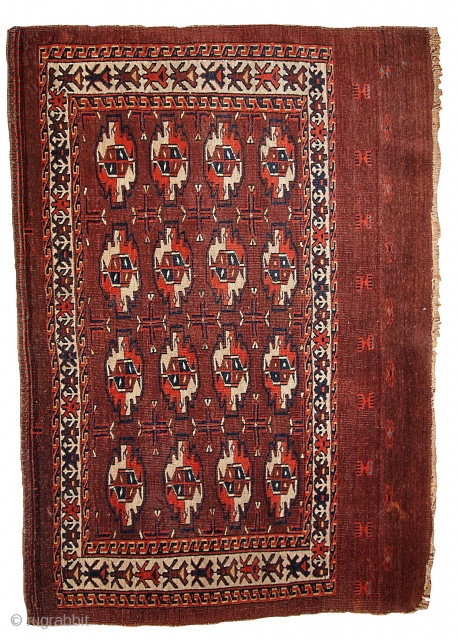 #1B353  Hand made antique collectible Turkoman Yomut chuval 2.6' x 3.7' ( 79cm x 112cm ) 1860