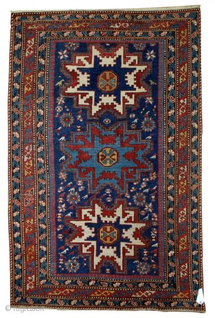#1B516  Handmade antique Caucasian Lezgi rug 3.7' x 5.3' ( 113cm x 161cm ) C.1880