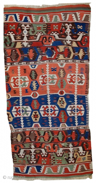 #1C424  Hand made antique collectible Turkish Anatolian kilim 2.7' x 6' ( 84cm x 183cm ) 1860