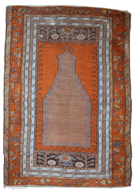 #1C425  Hand made antique Turkish Anatolian prayer rug 3.3' x 4.6' ( 100cm x 141cm ) 1940