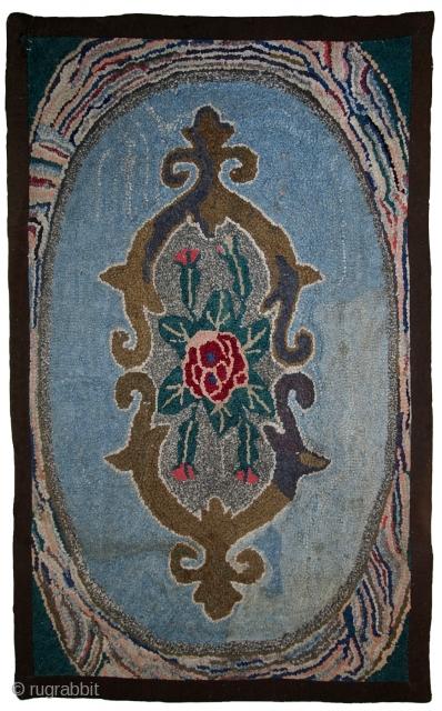 #1C15  Handmade antique American hooked rug 2' x 3' ( 62cm x 92cm ) 1900.C