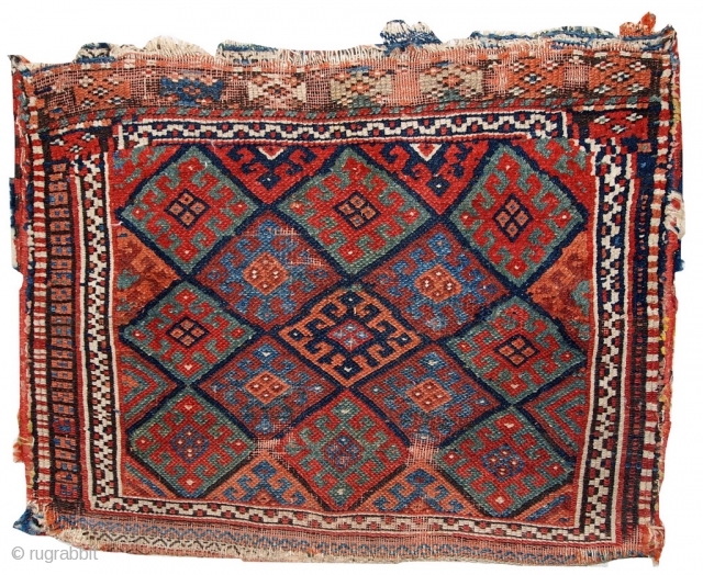 Handmade antique collectible Persian Kurdish bag 1.8' x 2.4' (56cm x 73cm) 1880s - 1C451