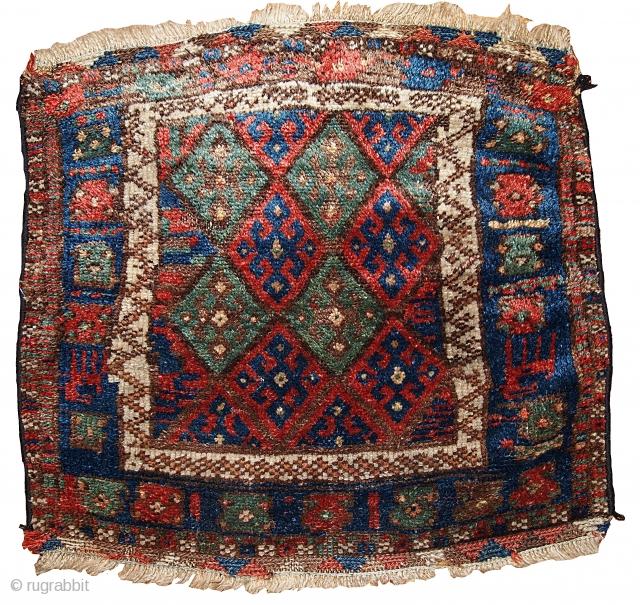 #1B321  Hand made antique collectible Persian Kurdish bag face 1.11' x 2.1' ( 61cm x 64cm ) 1880s