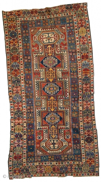 1C260 Caucasian Shirvan rug 3.8' x 7.6' ( 118cm x 233cm ) 1870, condition: original, some age wear, missing end, little crooked.