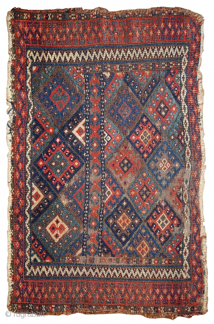 #1B325  Hand made antique collectible Persian Kurdish bag face 1.9' x 2.9' ( 58cm x 88cm) C.1880s