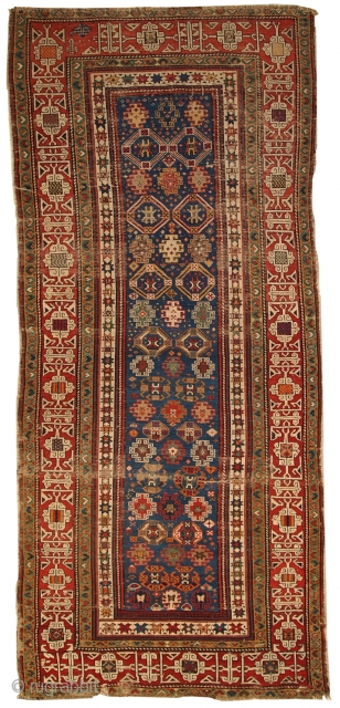 #1C250  Hand made antique Caucasian Kuba runner 3.6' x 8.1' ( 110cm x 247cm ) C.1880s