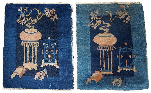 #1B327  Hand made antique collectible pair of Peking Chinese rugs 1.7' x 1.10' ( 51cm x 59cm )